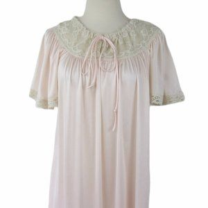 Vintage 60s 70s Pink Nylon Cream Lace Nightgown